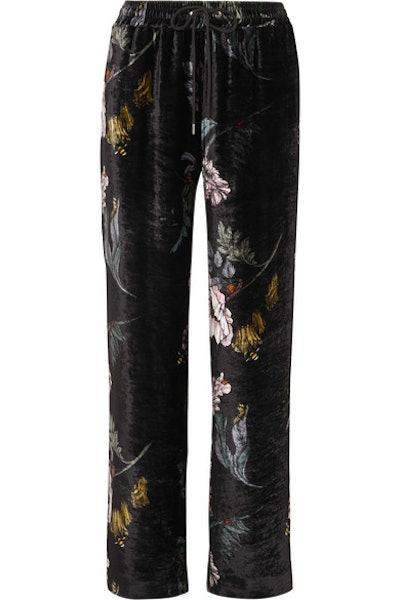 Markus Lupfer Amery Floral Print Velvet Straight Leg Pants
