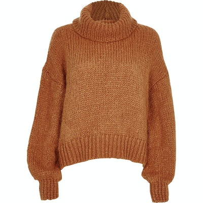 Brown Roll Neck Long Sleeve Knit Jumper