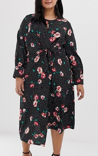 Knot Front Asymmetric Wrap Dress In Floral And Polka Dot Print