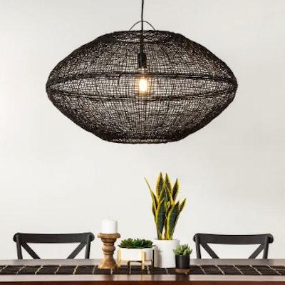Natural Woven Oblong Pendant Lamp (Includes Energy Efficient Light Bulb) - Project 62 + Leanne Ford, Black