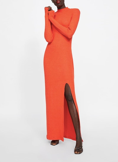 Ribbed Dress With Slit