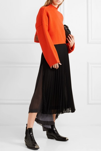 Oversized Cropped Cable-Knit Wool and Cashmere-Blend Sweater