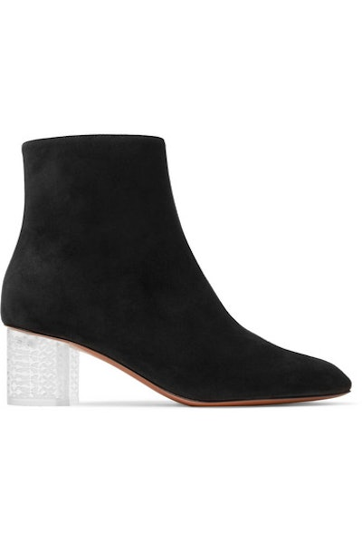 Suede Ankle Boots with Plexi Heel