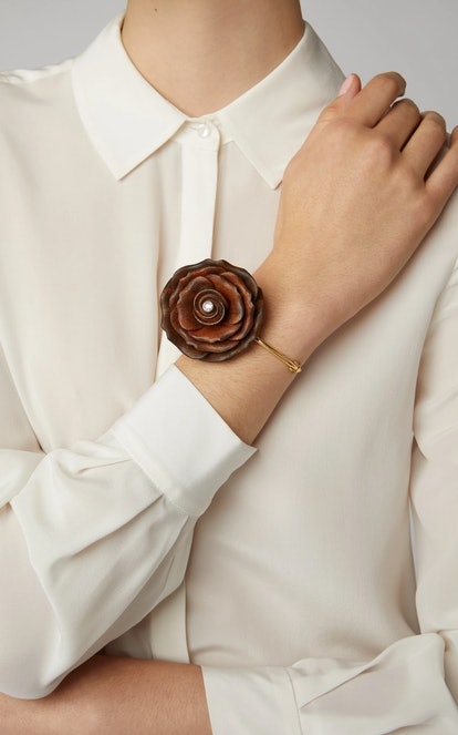Silvia Furmanovich Sculptural Botanical Marquetry Brown Rose Bracelet
