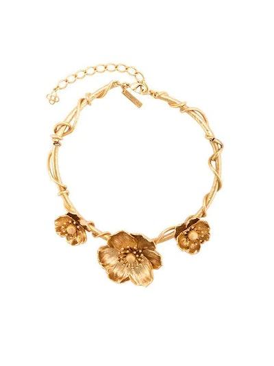 Oscar de la Renta Three Flower Charm Necklace