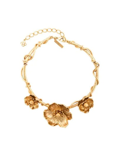 Oscar de la Renta Three Flower Charm Necklace