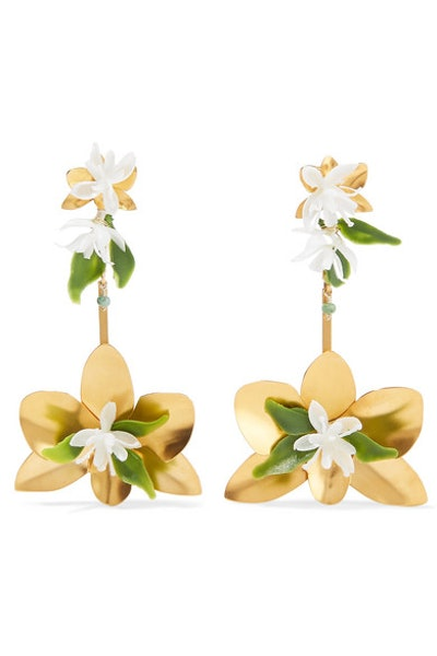 Mercedes Salazar Orchid Gold-Tone And Resin Earrings