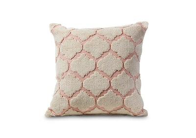 Pink Woven Geometric Pattern Pillow