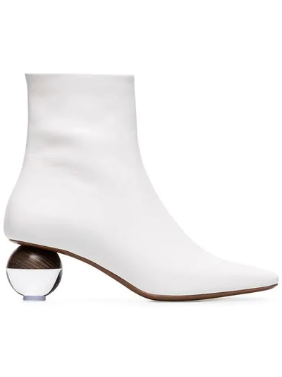 White Encylla 50 Square Toe Ankle Boots