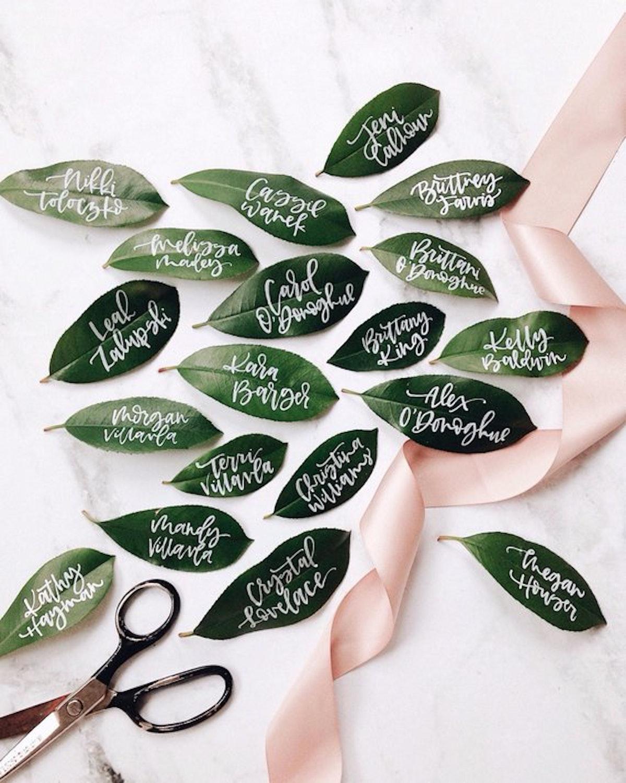 Fresh Leaf Wedding Place Card