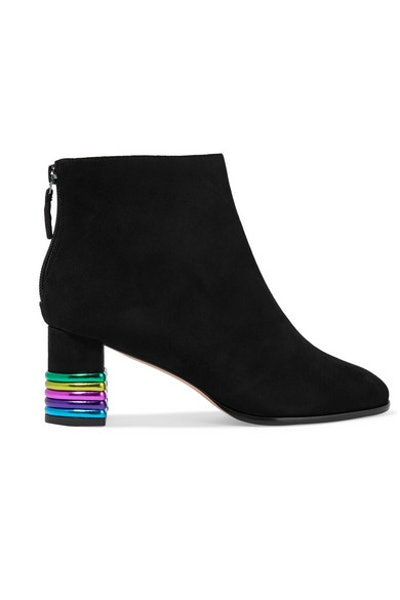 Stella Metallic Leather-Trimmed Suede Ankle Boots