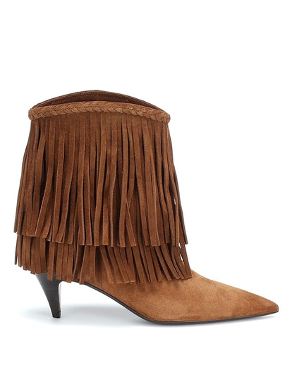 Charlotte Fringed Suede Ankle Boots