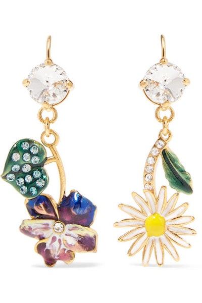 Miu Miu Gold-Tone, Enamel And Crystal Earrings