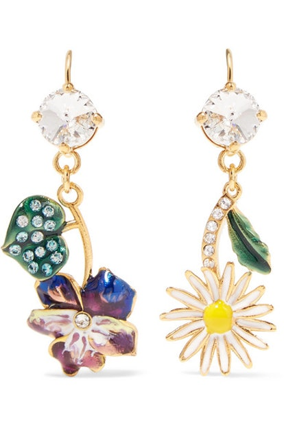 Miu Miu Gold-Tone, Enamel And Crystal Earrings