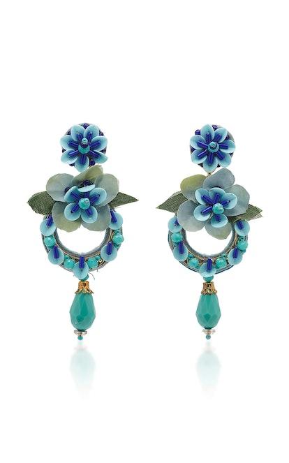 Ranjana Khan Bead-Embellished Pansy Drop Earrings