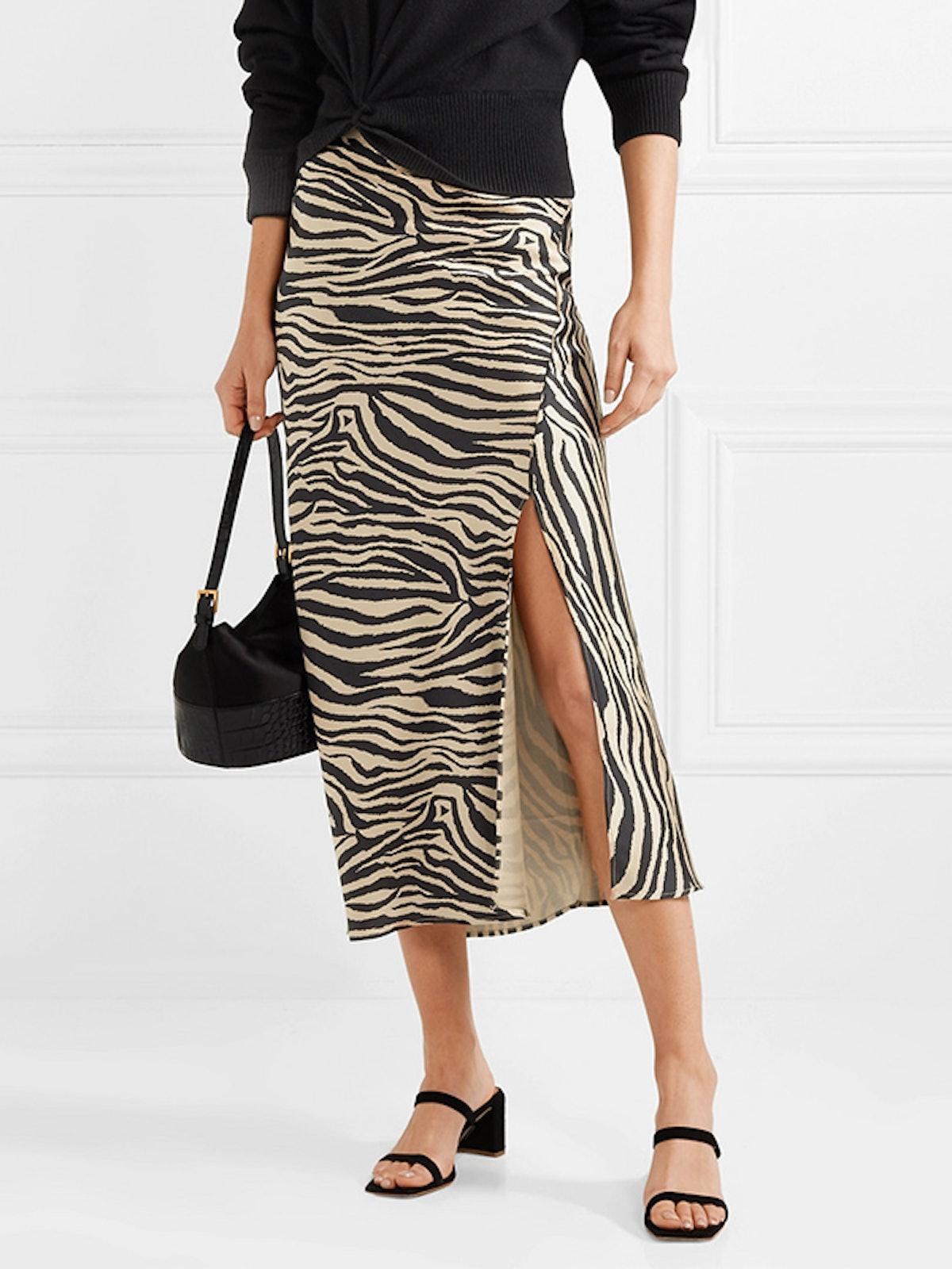 Dolly Zebra-Print Silk-Satin Midi Skirt