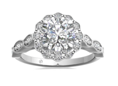 Floral Halo And Marquise Diamond Engagement Ring - White Gold, Setting Only