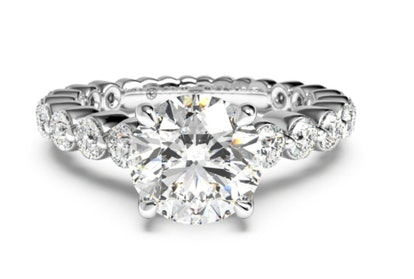 Shared-Prong Diamond Band Engagement Ring - Platinum, Setting Only