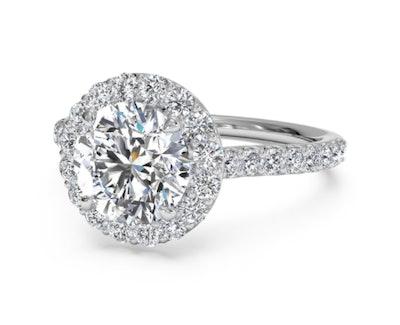 French-Set Halo Diamond Band Engagement Ring - Platinum, Setting Only