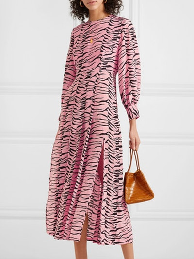 Emma Pleated Printed Silk Crepe De Chine Midi Dress