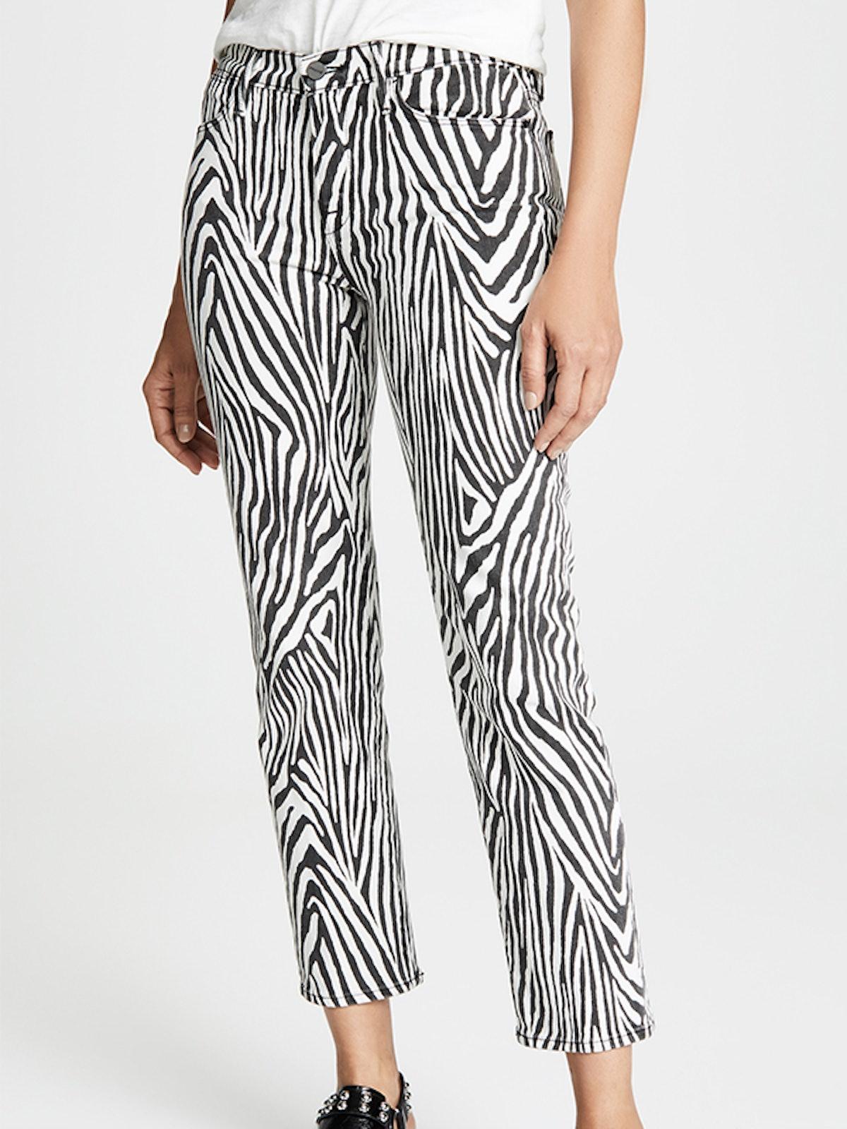 Le High Straight Zebra Jeans