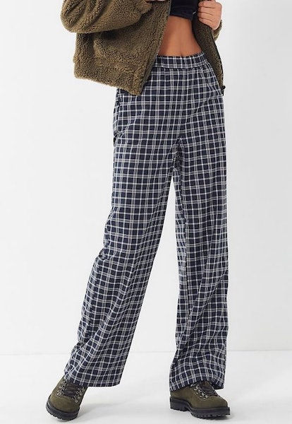 Plaid High-Rise Pull-On Trouser Pant