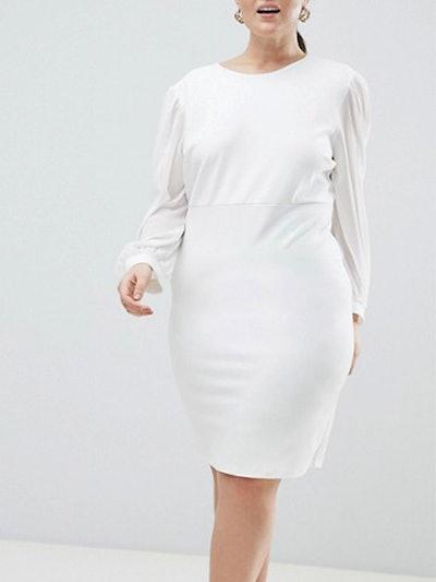 Plus Open Back Bodycon Dress With Split Sleeve Detail
