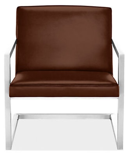 Lira Lounge Chair in Stainless Steel with Lecco Cognac Leather