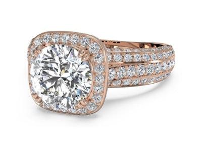Masterwork Cushion Halo Triple Diamond Band Engagement Ring With Surprise Diamonds - Rose Gold, Setting Only