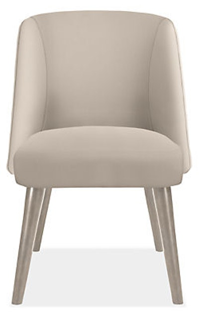 Cora Side Chair in Sunbrella Canvas Flax with Shell Legs