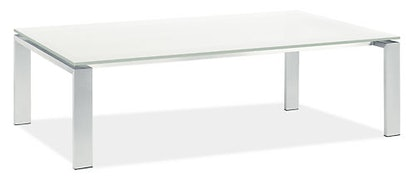 Rand 60w 36d 16h Coffee Table in Stainless Steel with White Glass Top