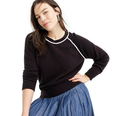 Tipped Raglan-Sleeve Sweater in Supersoft Yarn