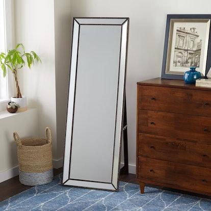 Abbyson Cosmo Nailhead Trim Floor Mirror - Silver
