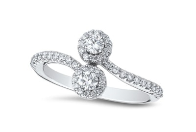 Halo Diamond Cluster Bypass Ring In 18kt White Gold