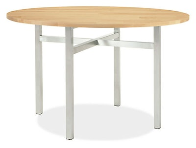 Benson 42 diam 29h Round Table in Stainless Steel with Maple Butcherblock Top