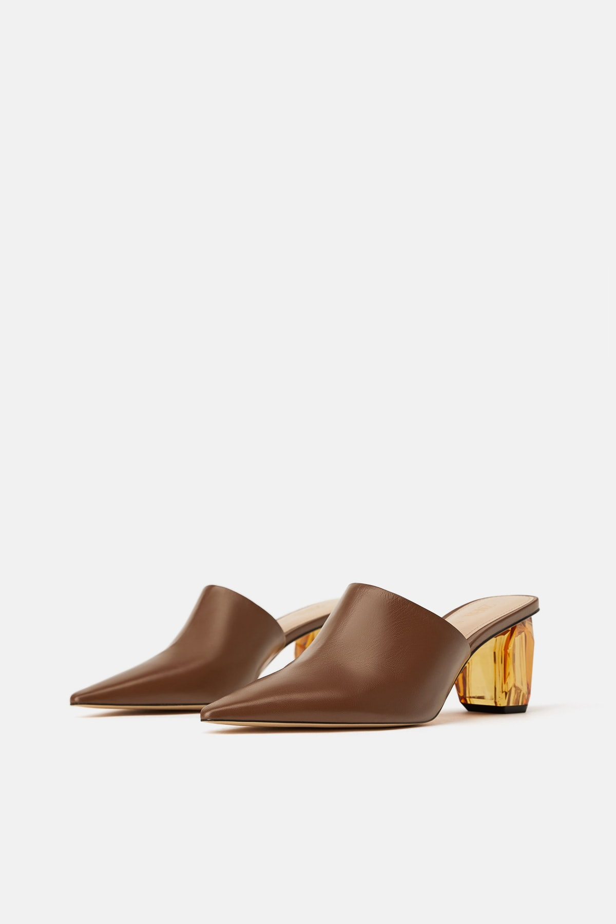 LEATHER MULES WITH GEOMETRIC HEELS