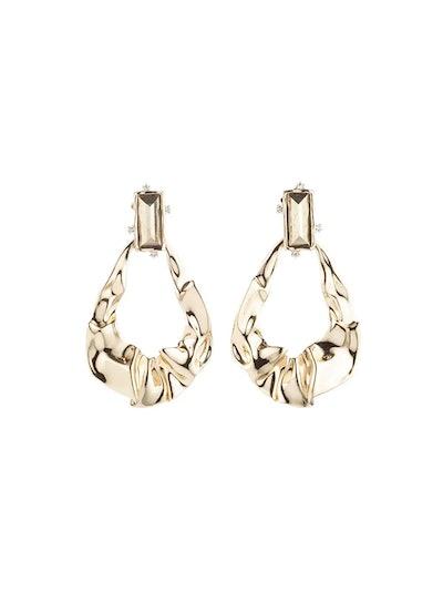Crumpled Gold Dangling Earrings