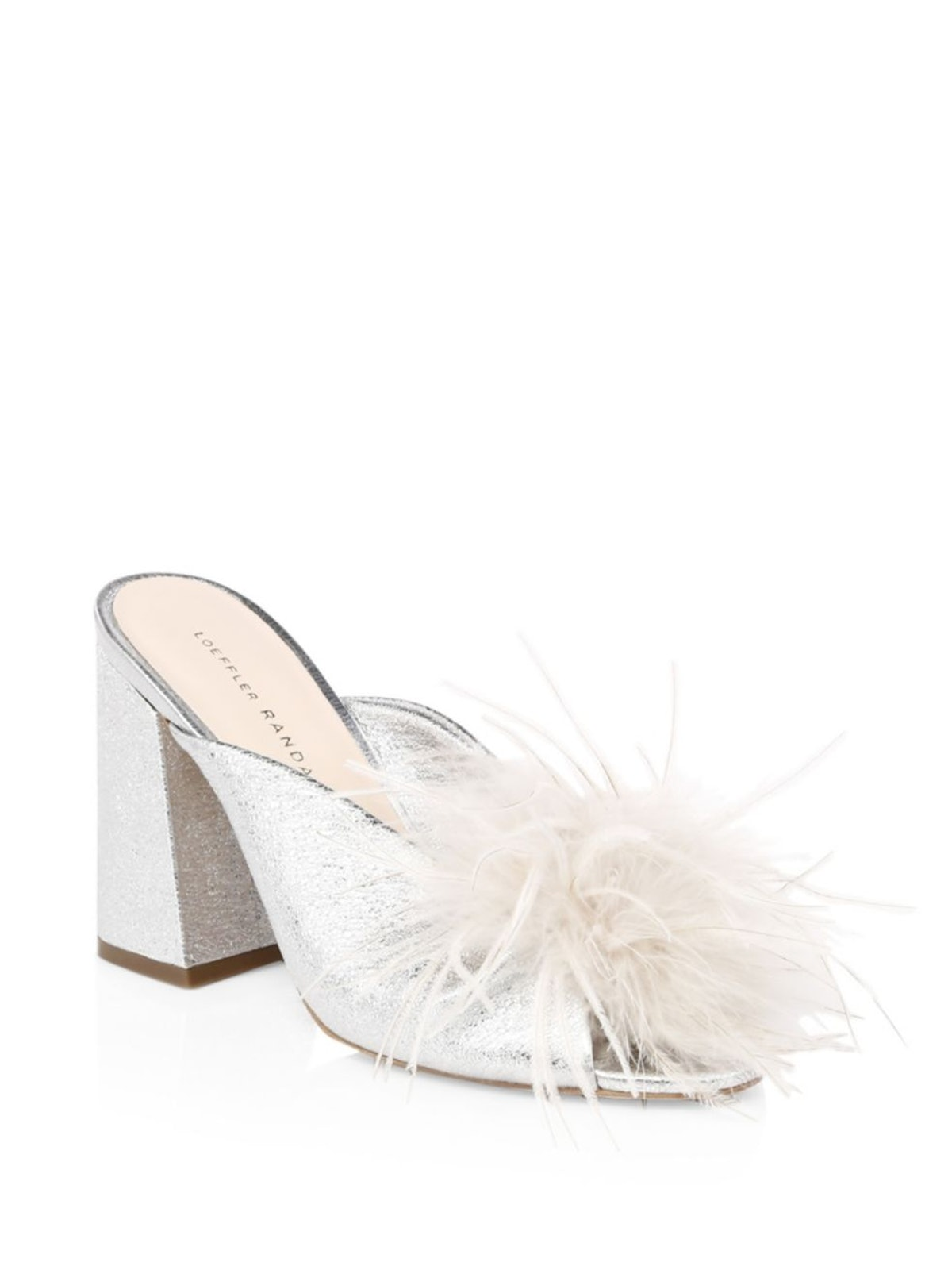 Loeffler Randall Laurel Ostritch Feather Leather Sandals