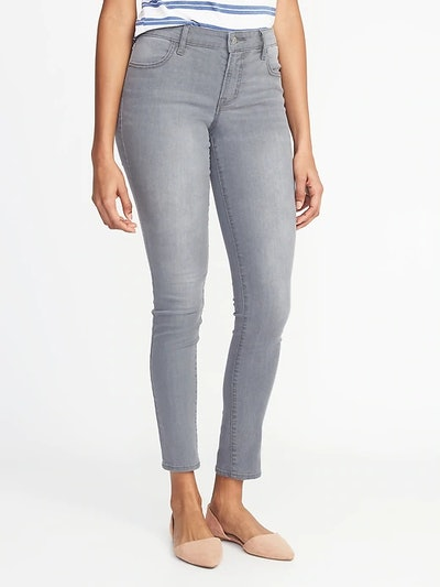 Mid-Rise Gray-Wash Super Skinny Jeans