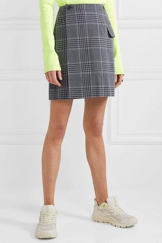Ivonne Checked Cotton-Blend Wrap Mini Skirt