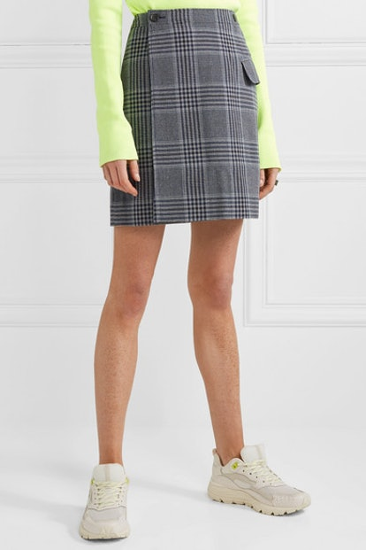 Ivonne Checked Cotton-Blend Wrap Mini Skirt