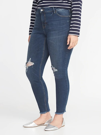 High-Rise Secret-Slim Pockets Plus-Size Raw-Edge Rockstar Jeans