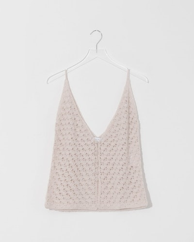 Bone Buttoned Cashmere Crochet Top