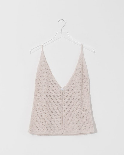 Bone Buttoned Cashmere Crochet Top