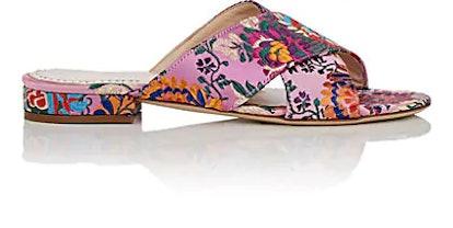 Floral Satin Brocade Slide Sandals