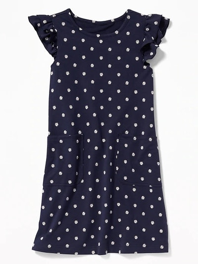 Patterned French Terry Ruffle-Sleeve Dress for Girls