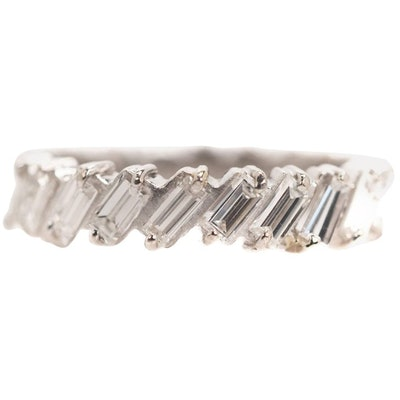1940s 1 Carat Total Baguette Diamond Half Way Around Eternity Band