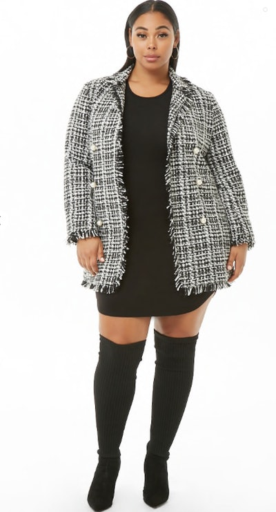Plus Size Faux Pearl Tweed Coat