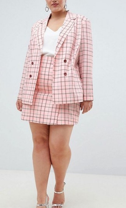 Unique 21 Hero Double Breasted Blazer & Mini Skirt In Pink Check Two-Piece