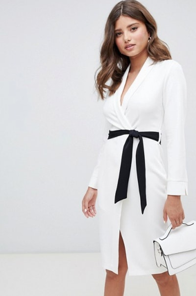 Closet London wrap front pencil dress with contrast belt in ivory